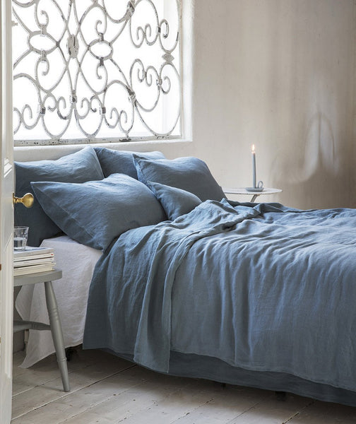 Parisian Blue Linen Pillowcase