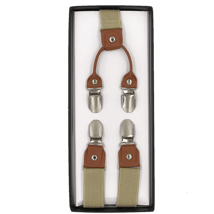 4 Prong Clip-On Suspenders - (Khaki)