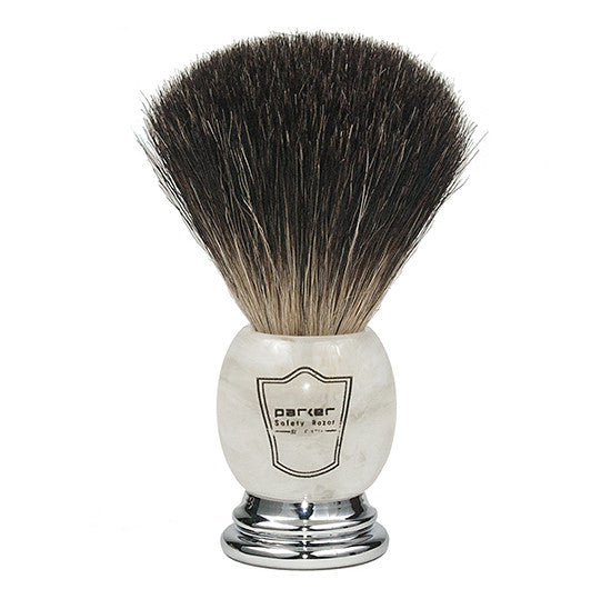 Parker Marbled Ivory, Black Badger Bristle Shaving Brush
