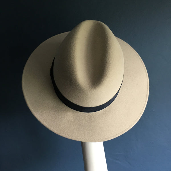 Alabaster White Fedora| Large Brim| Kate B Millinery