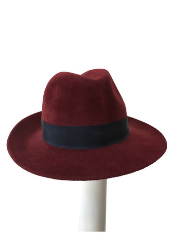 Maya Burgundy Fedora with Navy Blue grosgrain band | KB Millinery