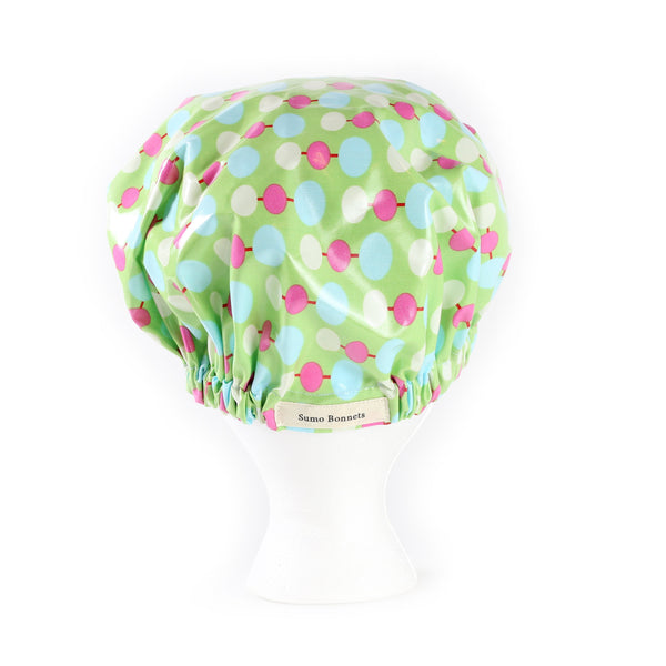 'Ada' Mint Green Dot XL Shower Bonnet