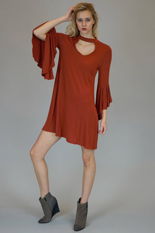 Rust Mock Neck With Front And Back Key Hole Dress