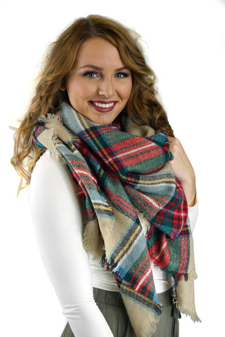 Beige, Red and Green Plaid Blanket Scarf
