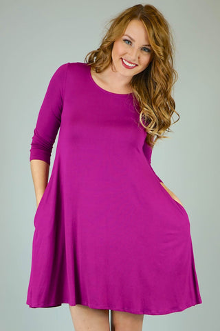 Magenta Mittoshop 3/4 Sleeve Knit Dress With Pockets