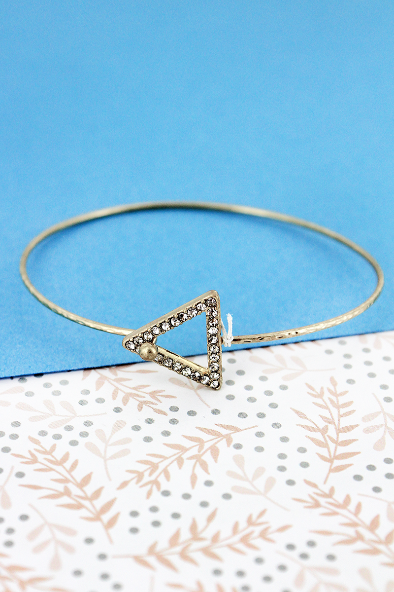 SALE! Crave Crystal Pave Open Triangle Goldtone Bangle