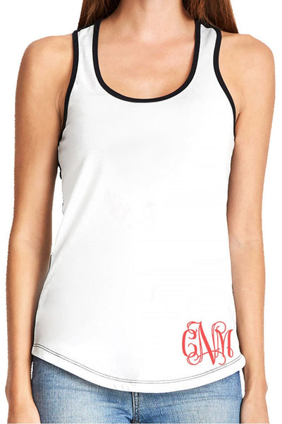 Next Level Ladies' Colorblock Racerback Tank, White/Black *Personalize It!