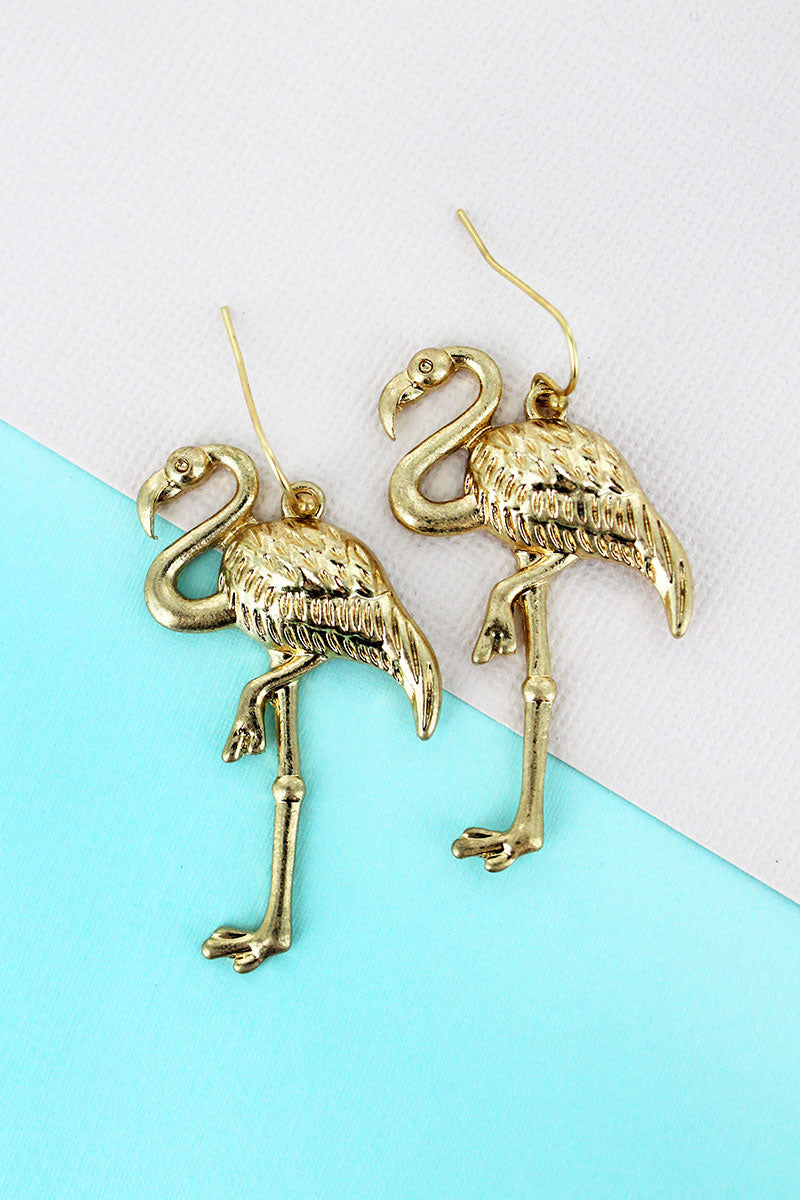SALE! Crave Goldtone Flamingo Earrings