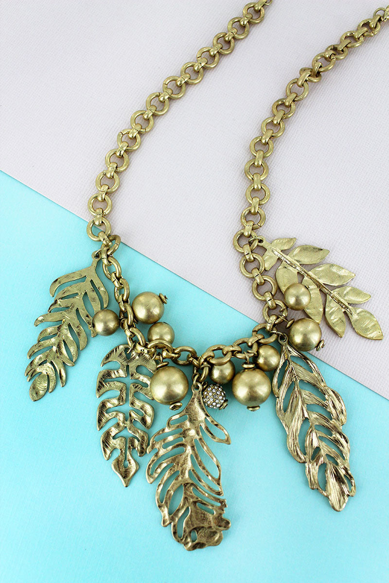SALE! Crave Goldtone Palm Leaf Charm Necklace