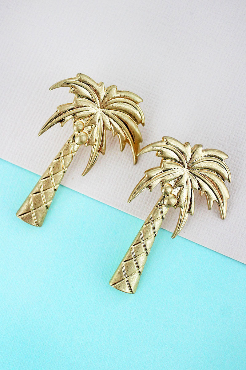 SALE! Crave Goldtone Palm Tree Post Earrings
