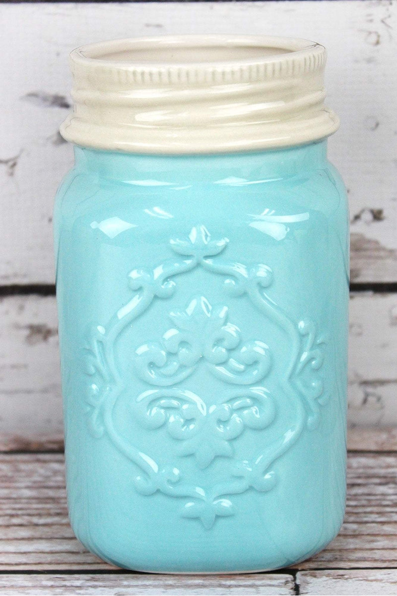 Blue Ceramic 'Gather Together' Mason Jar Kitchen Tool Holder with Tools Set