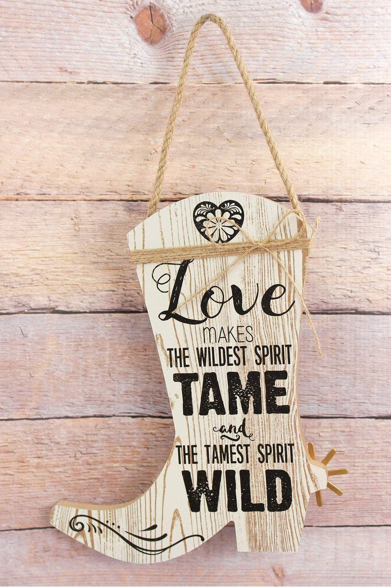 10 x 8.25 'Love' Wood Cowboy Boot Wall Sign