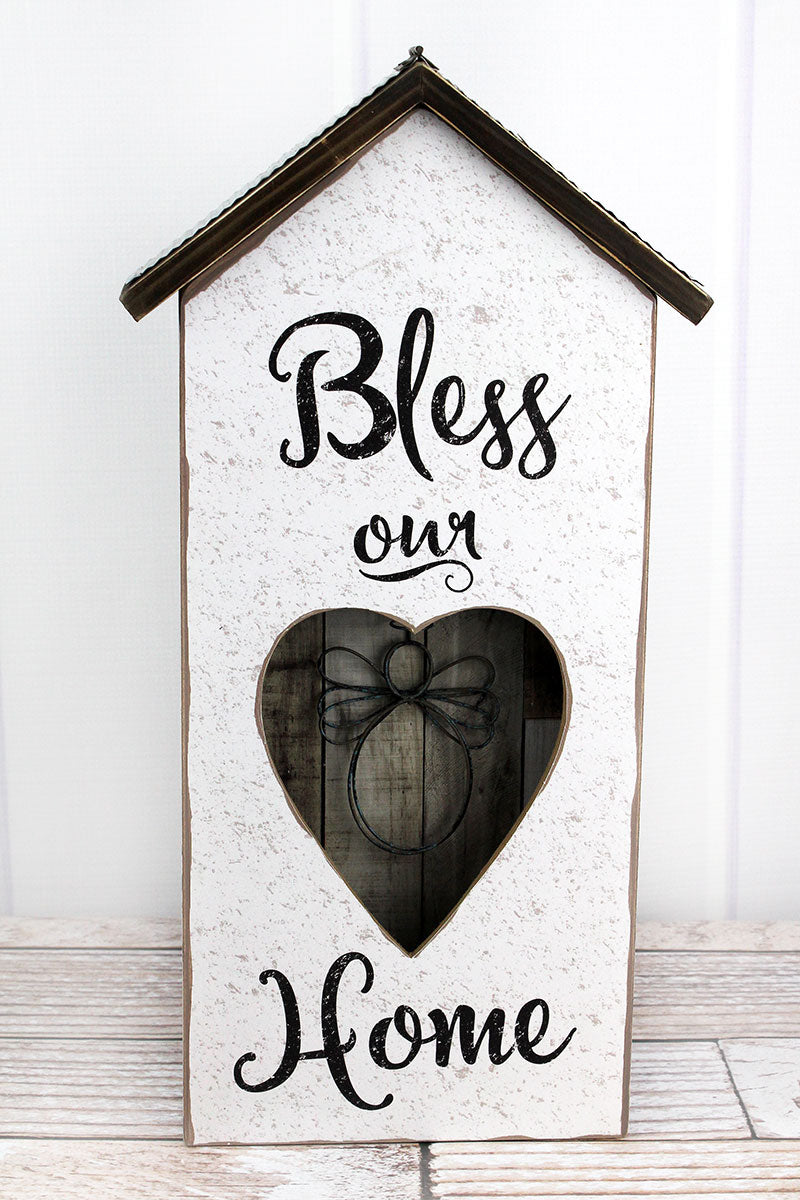 17.5 x 9 'Bless Our Home' Wood With Wire Angel Shadowbox