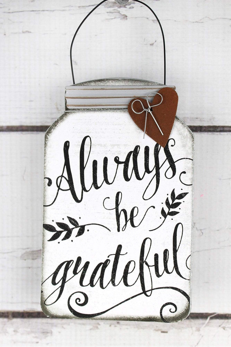 5.5 x 3.5 'Always Be Grateful' Tin Mini Mason Jar Sign