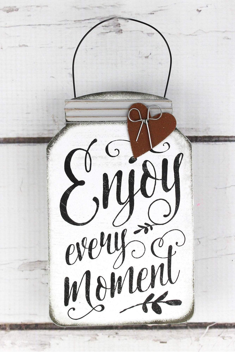 5.5 x 3.5 'Enjoy Every Moment' Tin Mini Mason Jar Sign