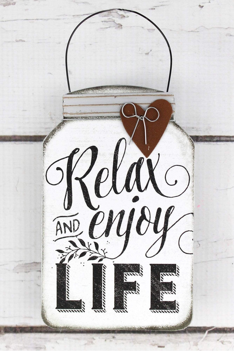 5.5 x 3.5 'Relax And Enjoy Life' Tin Mini Mason Jar Sign