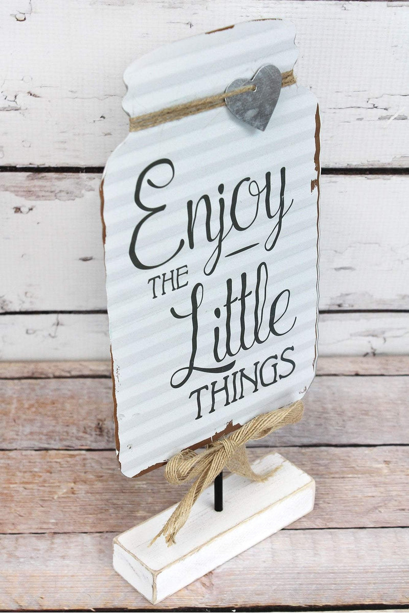 12.5 x 5.75 'Little Things' Tin Mason Jar Tabletop Display