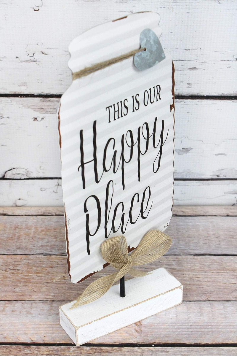 12.5 x 5.75 'Happy Place' Tin Mason Jar Tabletop Display