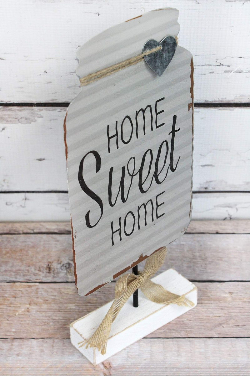 12.5 x 5.75 'Home Sweet Home' Tin Mason Jar Tabletop Display