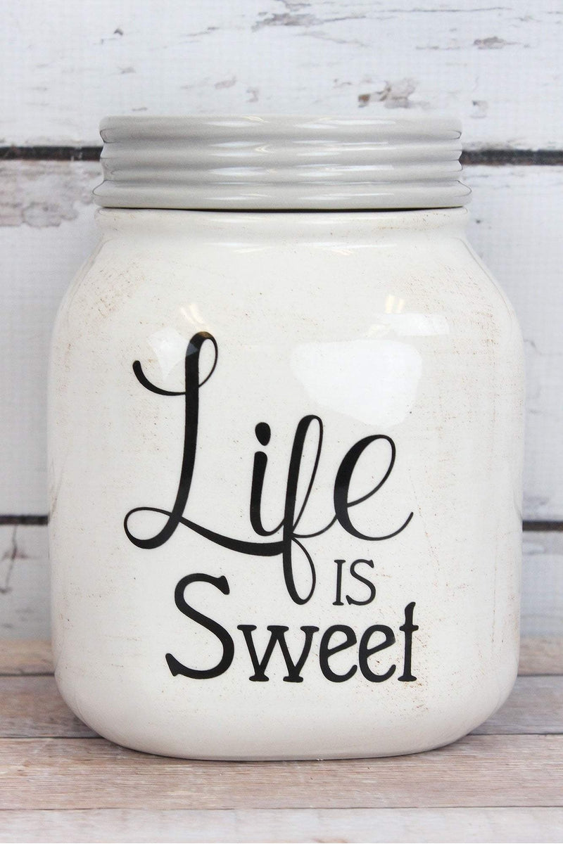 Ceramic 'Life Is Sweet' Mason Jar Canister, 7""