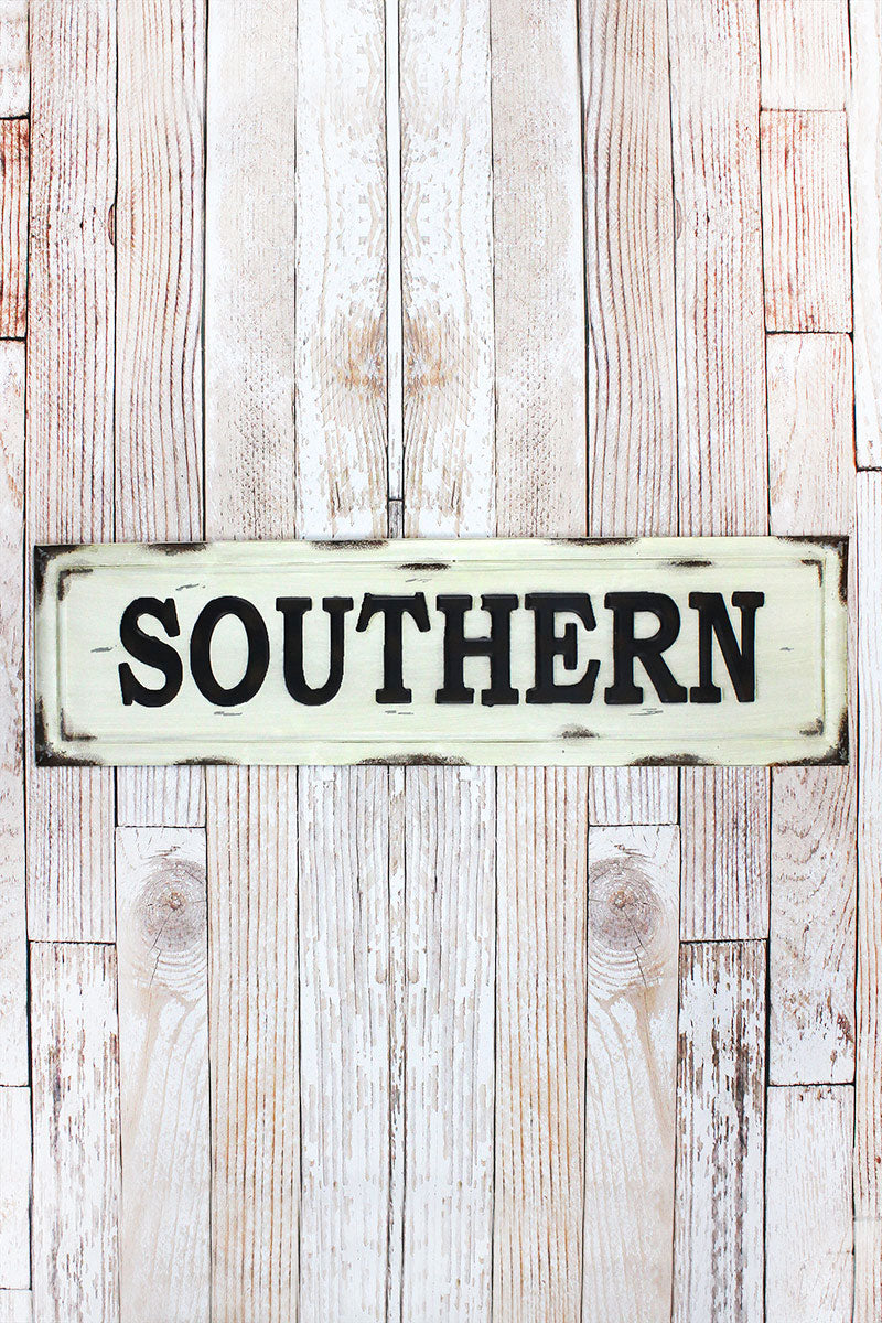 10.5 x 38.5 'Southern' Distressed Tin Wall Sign
