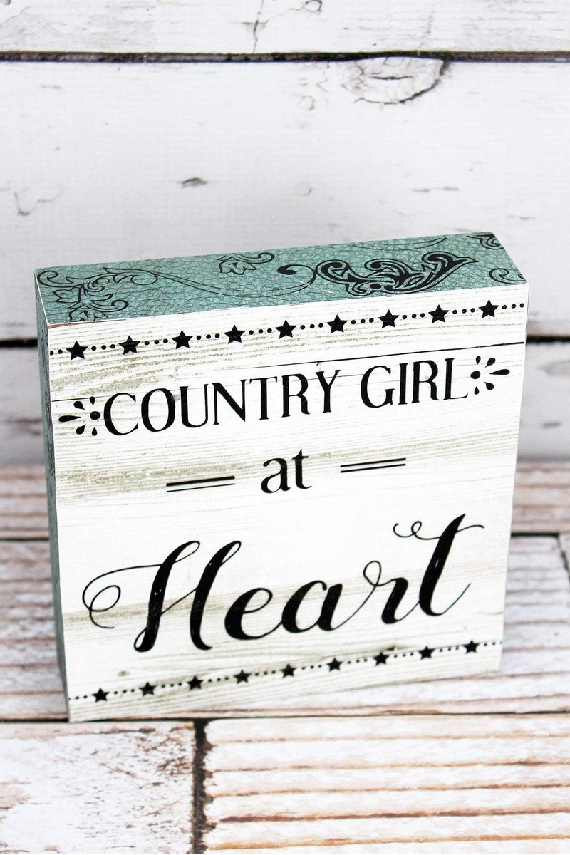 6 x 6 'Country Girl At Heart' Wood Block Sign