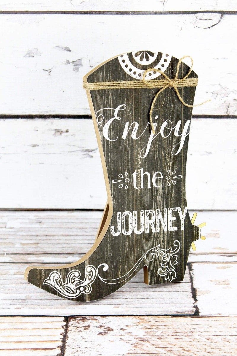 10 x 8.25 'Enjoy The Journey' Wood Cowgirl Boot