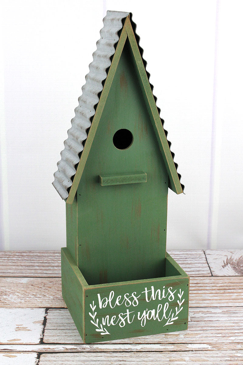 17 x 7 'Bless This Nest Y'all' Wood Birdhouse