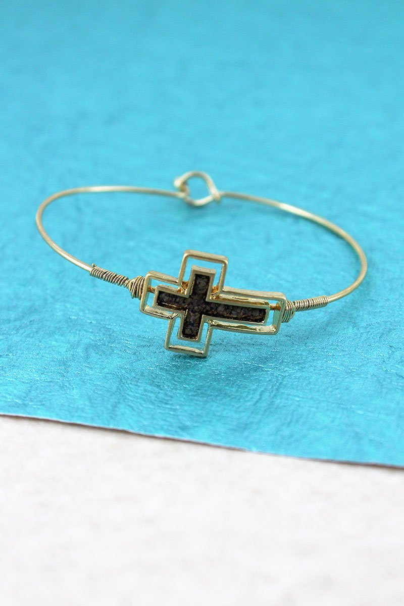Crave Goldtone and Dark Brown Cork Sideways Cross Bangle