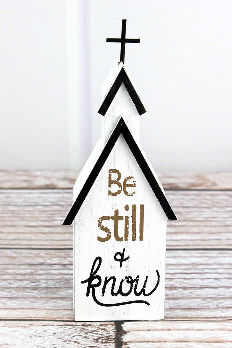 6.75 x 2.5 'Be Still & Know' Wood Block Tabletop Church