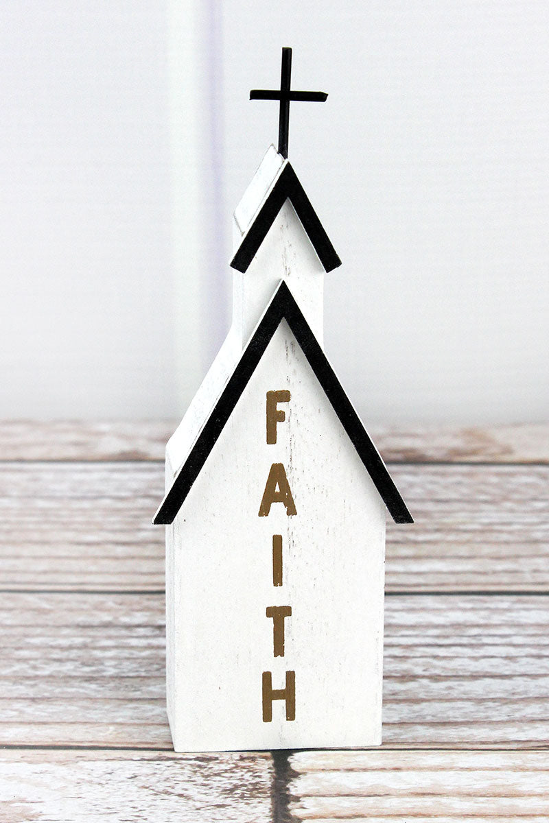 6.75 x 2.5 'Faith' Wood Block Tabletop Church