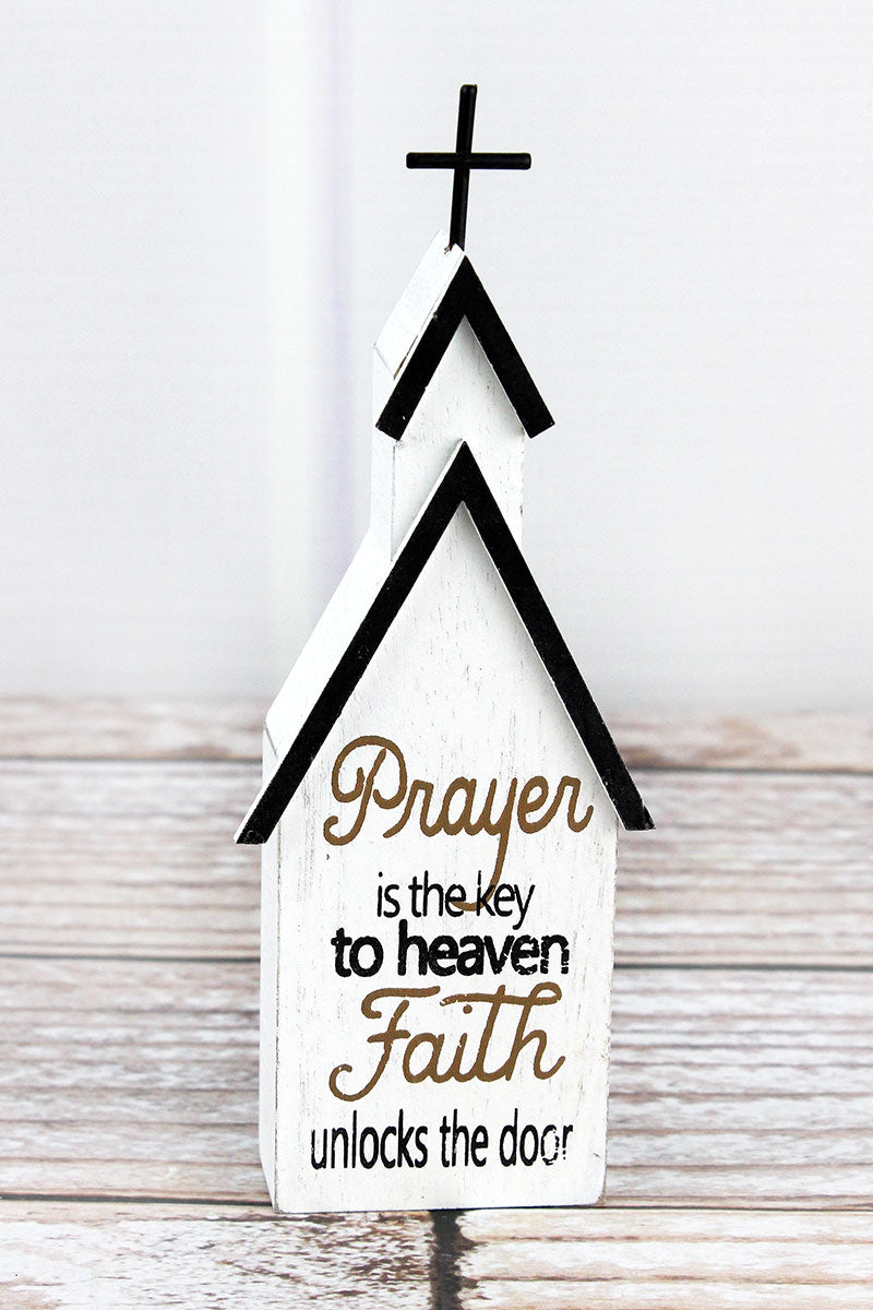6.75 x 2.5 'Prayer Is The Key' Wood Block Tabletop Church