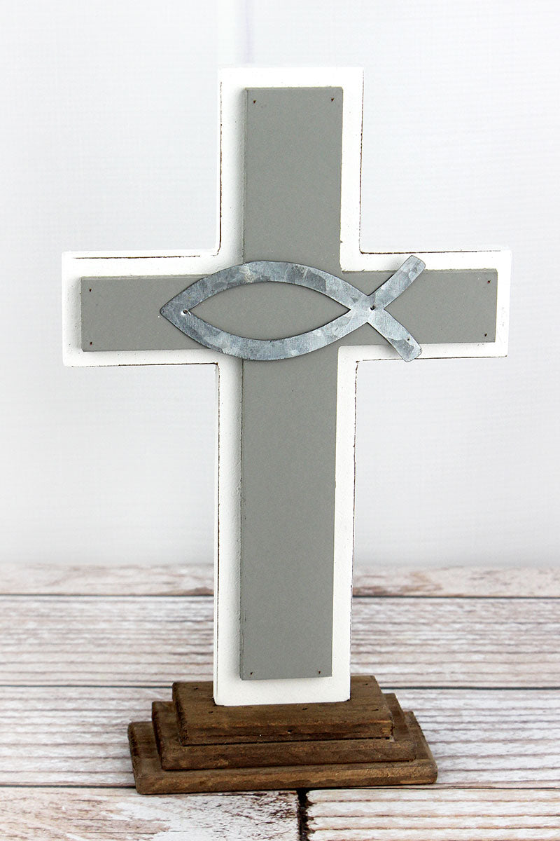 12 x 7.25 Wood with Metal Ichthys Tabletop Cross
