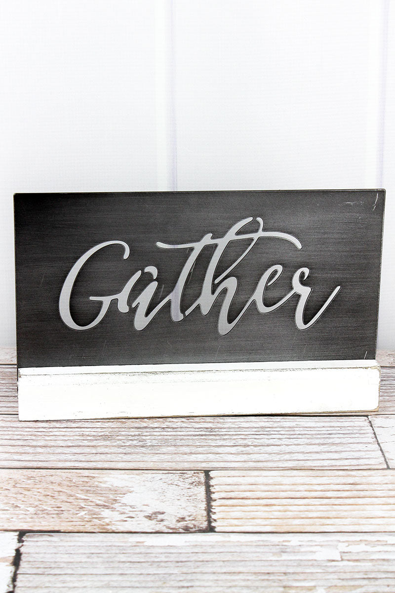 7.5 x 11.75 'Gather' Cut-Out Brushed Metal Tabletop Decor