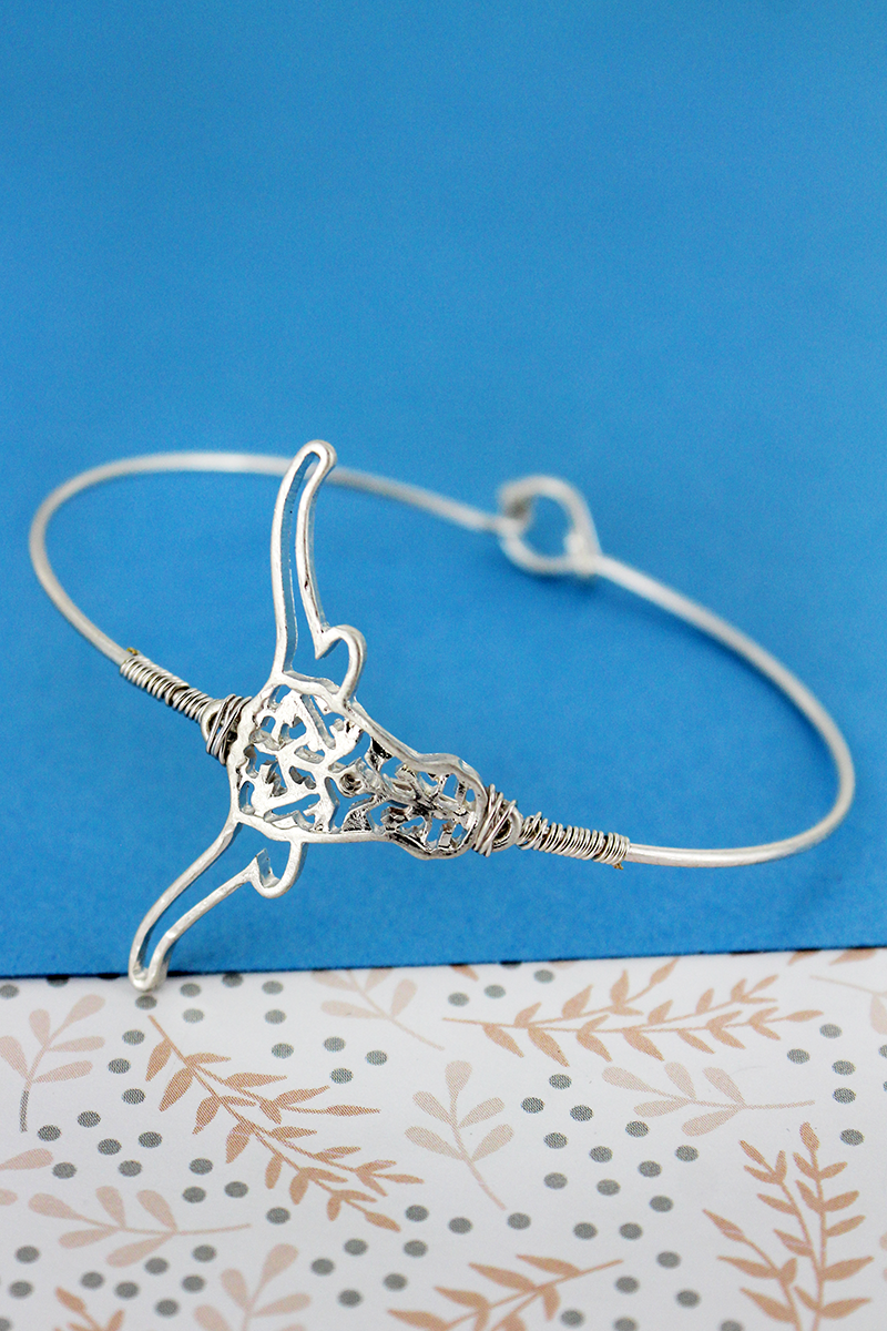 SALE! Crave Silvertone Wire-Wrapped Filigree Steer Bangle