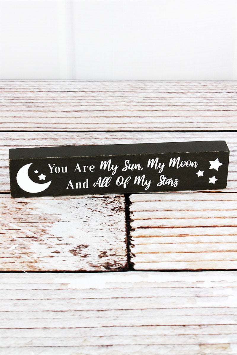 1.5 x 7.25 'Sun Moon Stars' Wood Block Sign