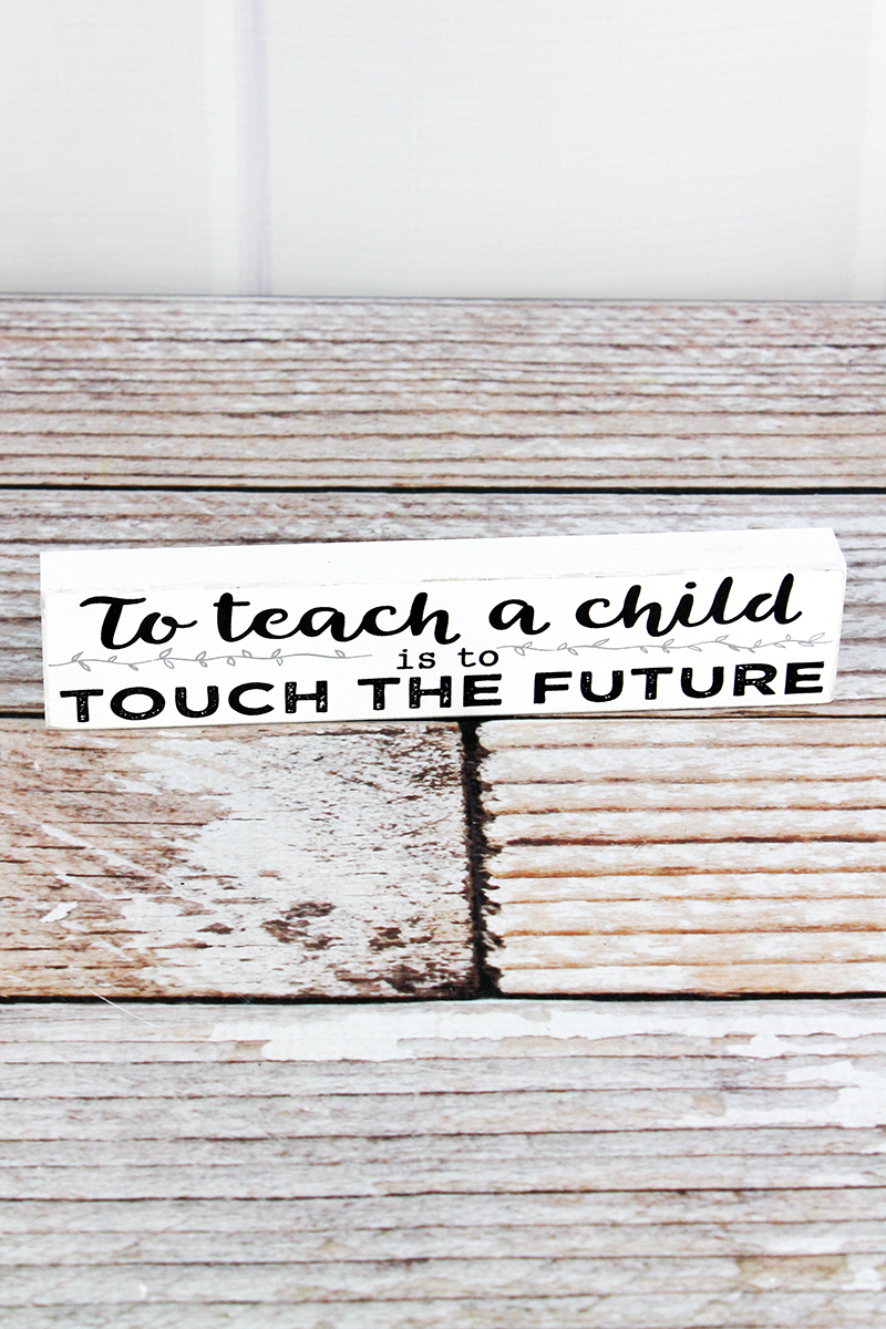 1.5 x 7.25 'Touch The Future' Teacher Wood Block Sign