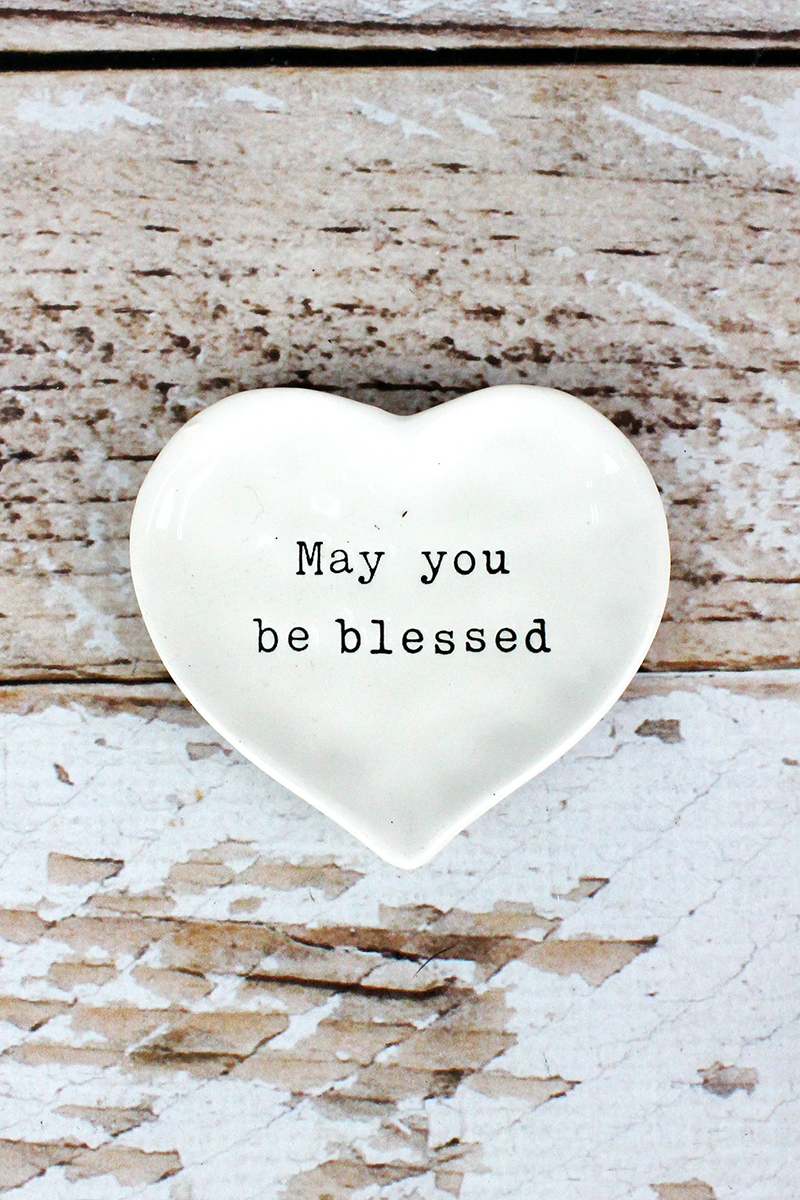 3.25 x 3.5 'May You Be Blessed' Ceramic Trinket Tray