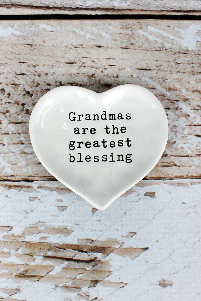 3.25 x 3.5 'Grandmas Are The Greatest Blessing' Ceramic Trinket Tray