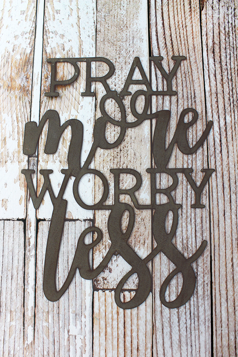19.5 x 14.5 'Pray More Worry Less' Script Wall Art