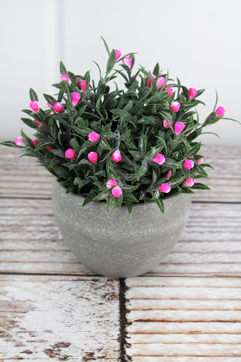 Artificial Pink Potted Flowers, 5.5""