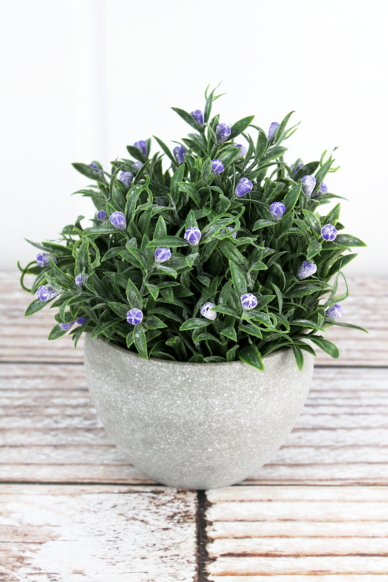 Artificial Purple Potted Flowers, 5.5""