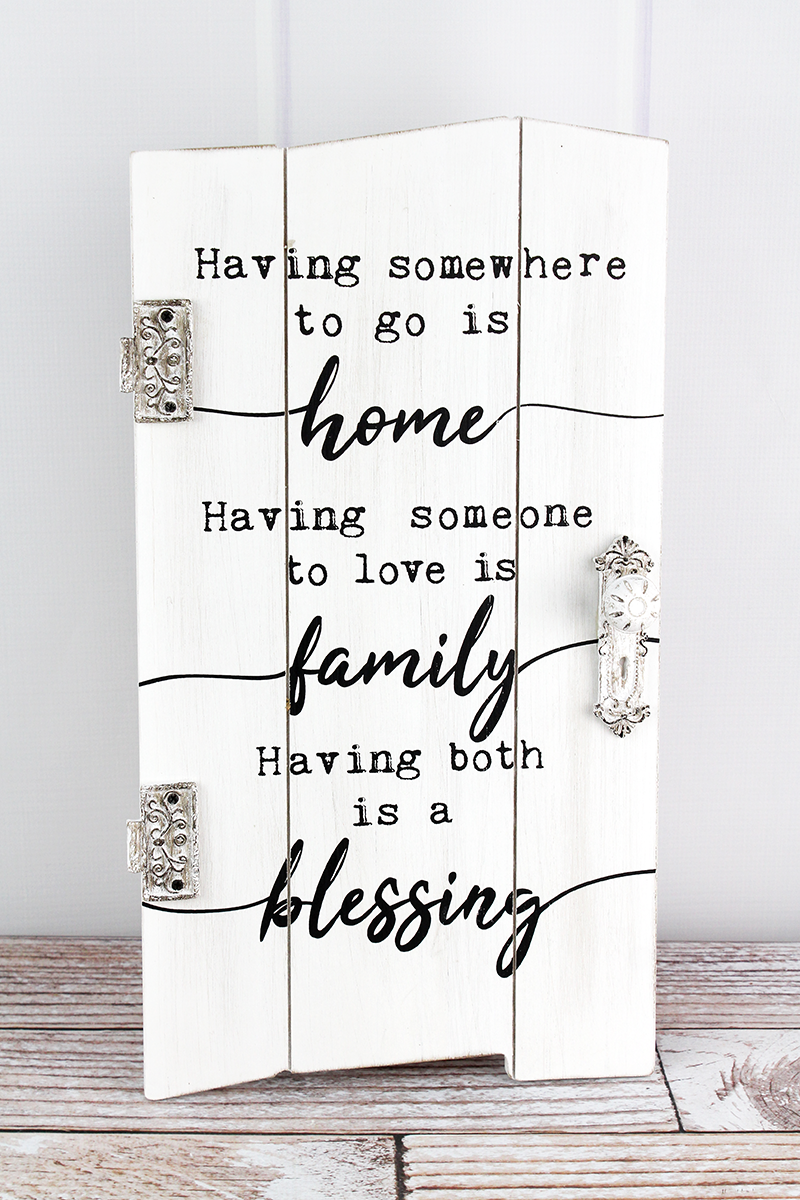 19 x 10.5 'Home Family Blessing' Distressed Hanging Door
