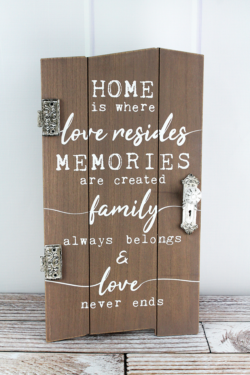 19 x 10.5 'Home Is Where' Distressed Hanging Door