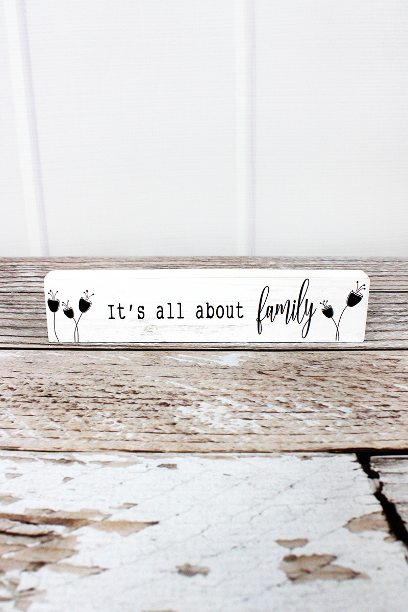 .75 x 7.25 'It's All About Family' Wood Block Sign