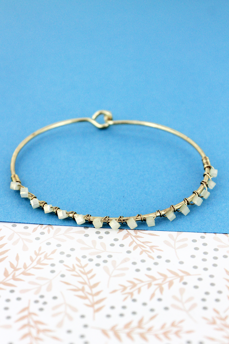 SALE! Crave Frosted White Cube Bead Goldtone Bangle