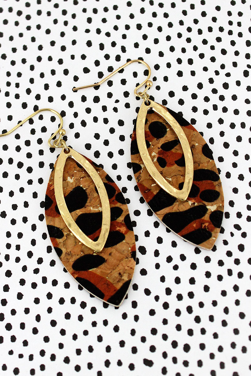 Crave Goldtone and Leopard Cork Layered Marquise Earrings