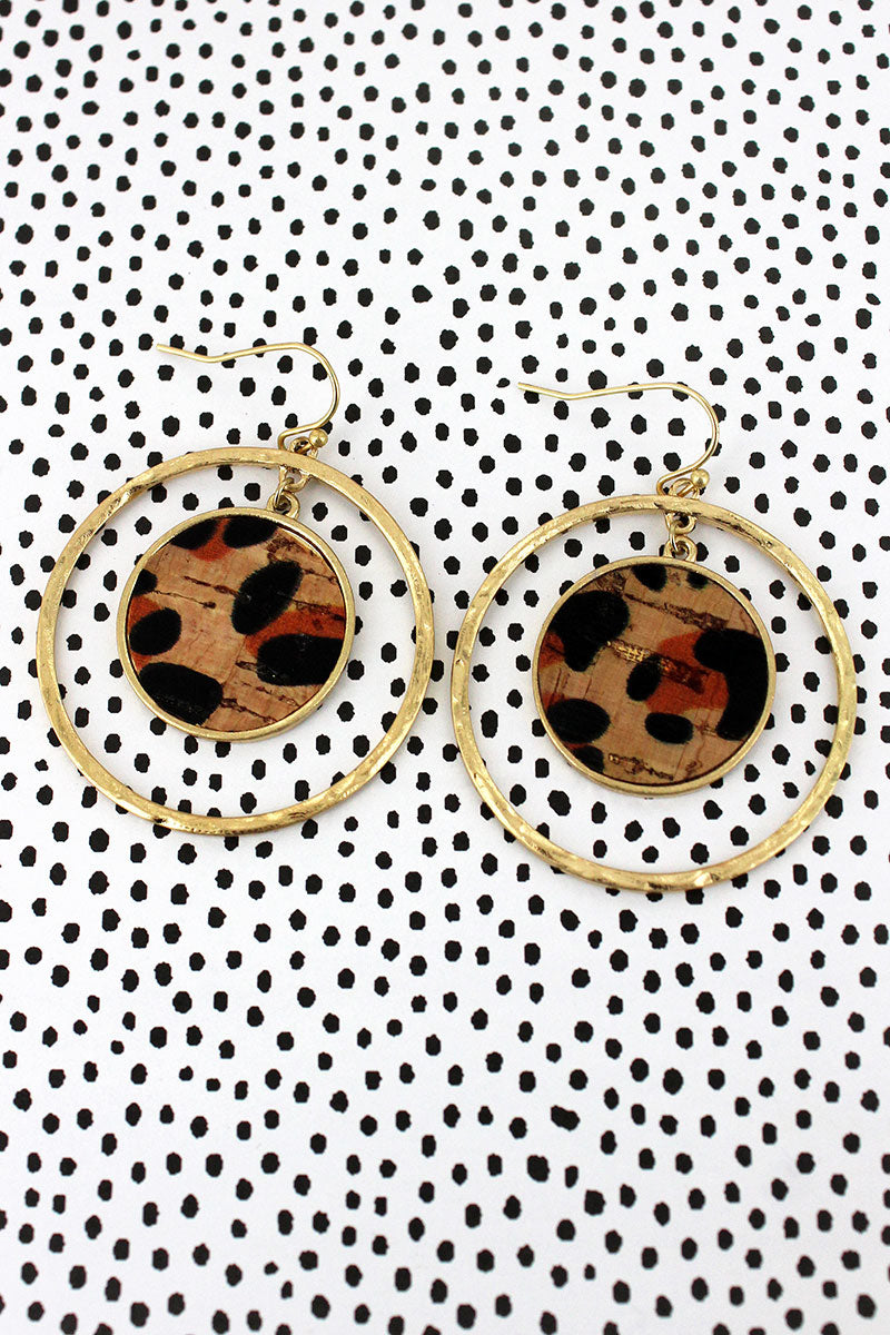 Crave Goldtone and Leopard Cork Double Disk Earrings