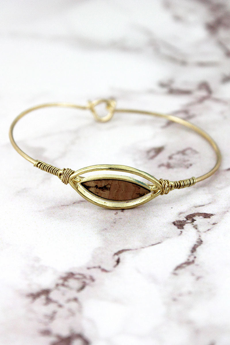 Crave Goldtone and Cork Double Marquise Bracelet