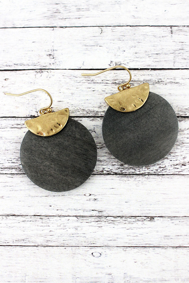 Crave Goldtone Half Moon and Gray Wood Disk Layered Earrings